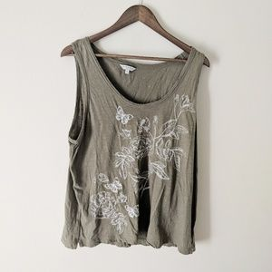 Lucky Brand Distressed Embroidered Tank Top XL